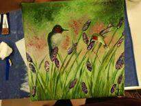 Frühling, Blumenwiese, Vogel, Malerei