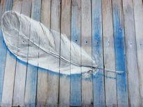 Daune, Blau, Feder, Malerei