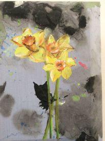 Frühling, Narzissen, Blumen, Malerei