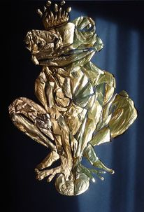 Frosch, Gold, Kugel, Mischtechnik