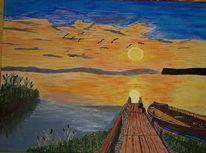 Malerei, Wasser, Landschaft, See