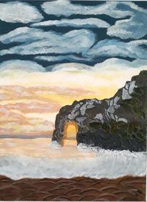 Wasser, Sonnenuntergang, Felsen, Malerei