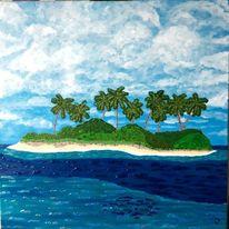 Meer, Palmen, Insel, Malerei