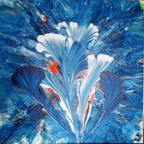 Blau, Weiß, Orange, Malerei