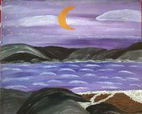 Berge, Wasser, Mond, Malerei