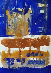 Blau, Gold, Acrylmalerei, Malerei