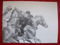 Zeichnung, Pferde, Galopprennen, Zeichnungen