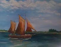 Landschaft, Bodden, Zeesboot, Malerei