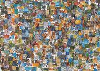 Modell, Farben, Blau, Collage