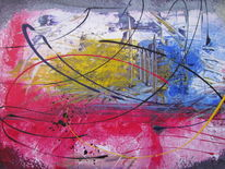Blau, Acrylmalerei, Rot, Modern art