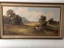 Kuh, Heuwagen, Ziehen, Malerei