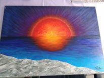 Wasser, Blau, Sonnenuntergang, Malerei