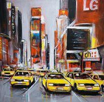 Farben, Stadt, Malerei, Acrylmalerei