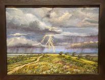 Wolken, Baum, Acrylmalerei, Blitz