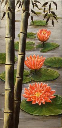Bambus, Seerosen, See, Malerei