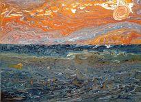 Sonnenuntergang, Sturm, Fließtechnik, Welle