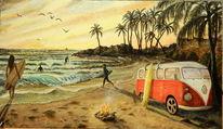 Meer, Surfen, Welle, Lagerfeuer