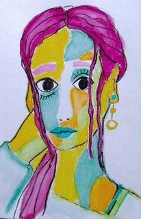 Frau, Orange, Portrait, Violett