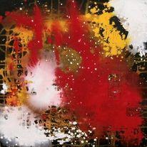 Rot, Weiß, Temperamalerei, Gelb