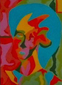 Blau, Temperamalerei, Bunt, Rot