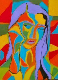 Gelb, Portrait, Abstrakt, Grün