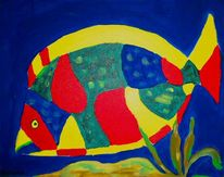Blau, Fisch, Bunt, Malerei