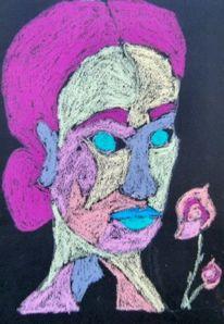 Blumen, Frau, Pastellmalerei, Zeichnungen
