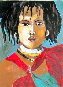 Rot, Frau, Portrait, Malerei
