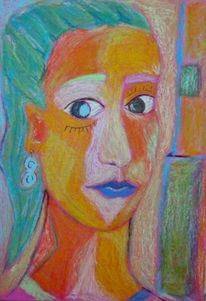 Frau, Grün, Leben, Pastellmalerei