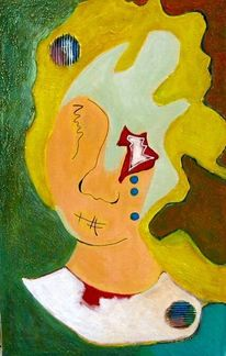 Portrait, Rot, Grün, Abstrakt