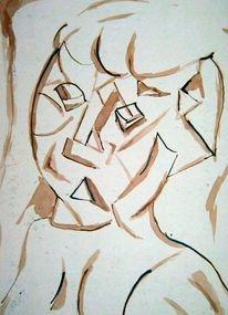 Kubismus, Skizze, Zeichnungen, Portrait