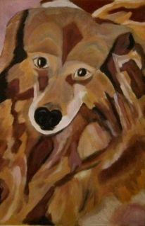 Hund, Braun, Kubismus, Modern