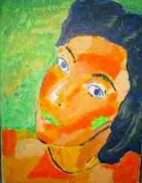 Frau, Grün, Selfie, Malerei