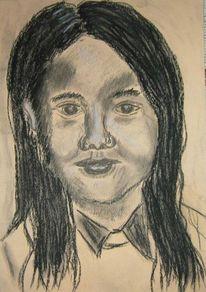 Skizze, Kohlezeichnung, Mädchen, Zeichnungen