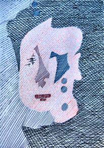 Modern, Portrait, Abstrakt, Frau