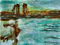 Landschaft, Materialbilder, Malerei, Collage