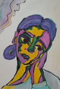 Aquarellmalerei, Portrait, Magenta, Blau