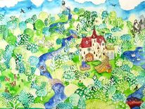 Reh, Blau, Einhorn, Malerei