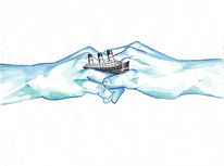 Surreal, Hand, Schiff, Aquarell