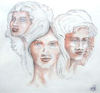 Portrait, Heutegesternmorgen, Acrylmalerei, Menschen