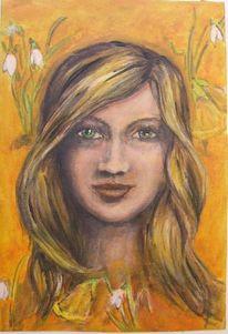 Frau, Orange, Malerei, Ungerahmt
