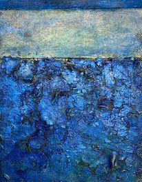 Farbschichten, Collage, Blau, Pigmente