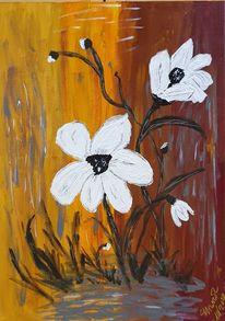 Weiß, Braun, Blumen, Grau