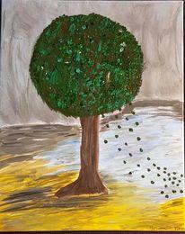 Baum, Natur, Blau, Ocker