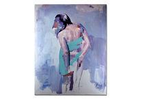 Malerei acrylmalerei, Portrait, Frau, Blau