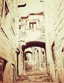 Altstadt, Gasse, Venetien, Mischtechnik