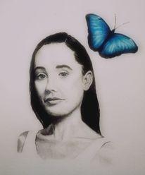 Frau, Portrait, Schmetterling, Malerei