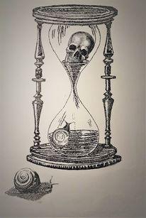Zeit, Schwarzweiß, Schnecke, Schädel