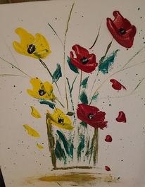 Blumen, Vase, Acrylmalerei, Malerei