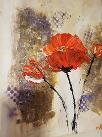 Fantasie, Lila, Mohnblumen, Malerei